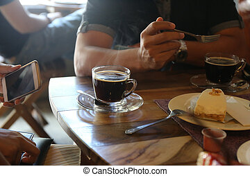 retro color tone, people with black coffee cup