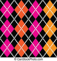 Retro colorful argile pattern - orange and pink on black ...