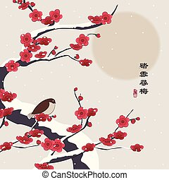 Retro colorful Chinese style vector illustration little bird standing on a plum flower tree in the winter