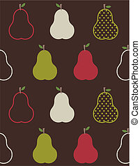 Retro colorful pears pattern on brown background