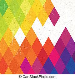 Retro colorful rhombus background, vector