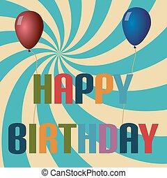 retro colors balloons and happy birthday text eps10