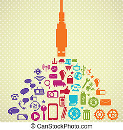 Social Media - Retro colors Social Media concept with USB...