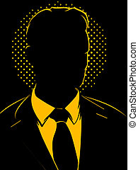 Retro Comic Business Man Silhouette - Shadowy man in a suit...