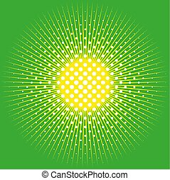 Retro comic pop background dotted halftone design and sun on green