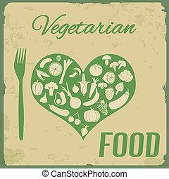 retro, comida vegetariana, cartaz