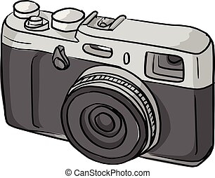 retro compact camera vector illustration sketch doodle hand drawn with black lines isolated on white background