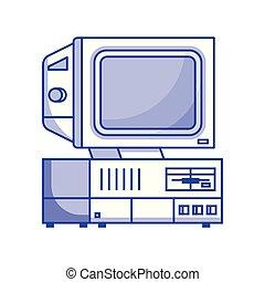 Vintage computer machine isometric vector