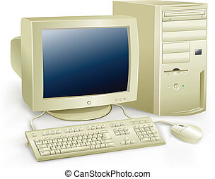 The retro desktop white computer with monitor, keyboard and mouse on the white background