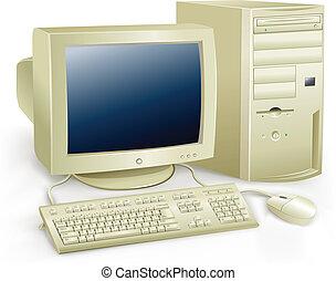 retro computer - The retro desktop white computer with...