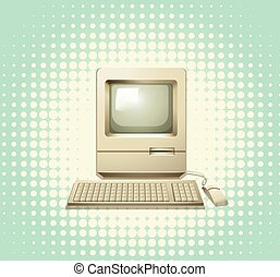 Retro computer with keyboard and monitor