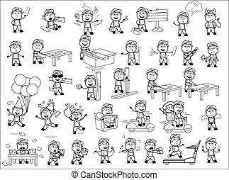 retro, conceitos, vetorial, ilustrações, personagem, -, jogo, carpinteiro, cômico