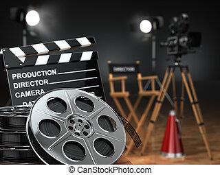 retro, concept., cinéma, bobines, appareil photo, film, vidéo, clapperboard