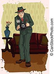 Concept of retro man taking photograph. Vector illustration