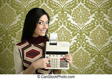 retro, contador, mujer, calculadora, papel pintado