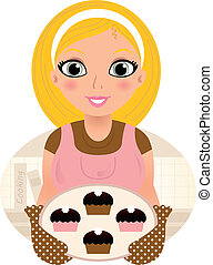 Retro Cooking blond Woman serving sweet food ( pink & brown )