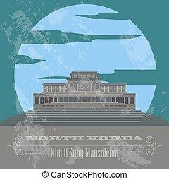 retro, coréia, norte, landmarks., denominado