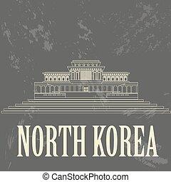 retro, corea, nord, landmarks., disegnato