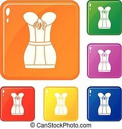 Retro corset icons set vector color