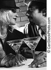 Retro couple at bar. - Caucasian prime adult retro male and...