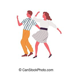 Retro couple dance lindy hop together synchronously. ...