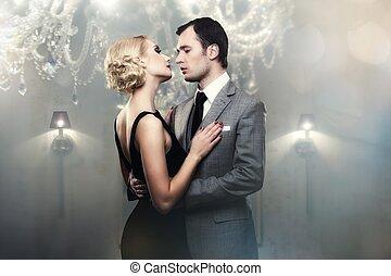 Retro couple in luxury interior
