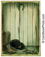 Retro Cowboy background on antique paper for text