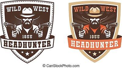 Retro cowboy badge - gunfighter with guns