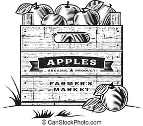 Retro wooden crate of apples in woodcut style. Black and white editable vector illustration with clipping mask.