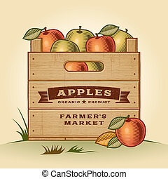 Retro wooden crate of apples in woodcut style. Editable EPS10 vector illustration with clipping mask and transparency.