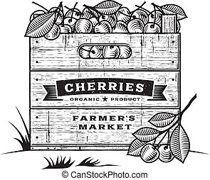 Retro crate of cherries b&w