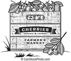 Retro crate of cherries b&w