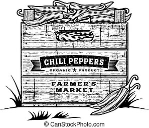 Retro crate of chili peppers black
