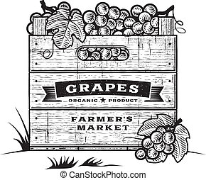 Retro wooden crate of grapes in woodcut style. Black and white editable vector illustration with clipping mask.