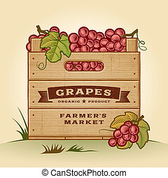 Retro crate of grapes - Retro wooden crate of grapes in...