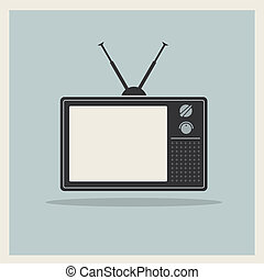 Retro crt tv receiver vector - Retro crt tv receiver on...