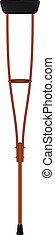 Retro crutch - Retro wooden crutch isolated on white...
