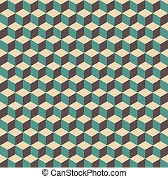 retro cube pattern - 3d cube pattern, vintage and retro...