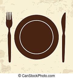 retro, cuchillo, plano de fondo, tenedor, placa