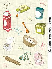 Retro cuisine icon set - Kitchen retro elements over cream...