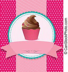 retro, cupcake, en, fondo rayado