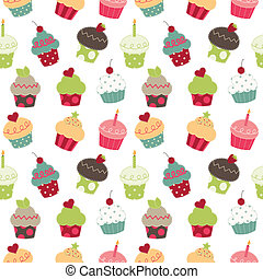 Retro cupcakes seamless pattern