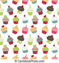 Retro cupcakes seamless pattern