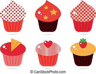 Retro cupcakes set isolated on white