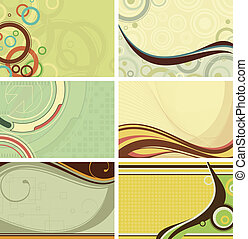 Illustration of abstract retro backgrounds set.