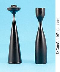 retro curvy wooden candle sticks paint black blue