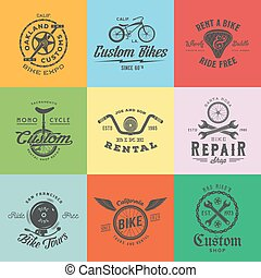 Retro Custom Bicycle Vector Labels or Logo Templates Set. Bike Symbols, Such as Chains, Wheels, Saddle, Bell, Wrench, etc. With Vintage Typography.