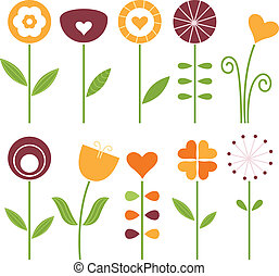 Retro cute spring flowers set isolated on white