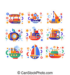 Retro cute water transport set, steamboat, passenger cruise ship, submarine, yacht vector Illustration on a white background