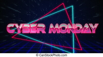 Retro Cyber Monday text glitching over blue and red ...